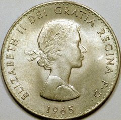 Obverse of 1965 Churchill Crown